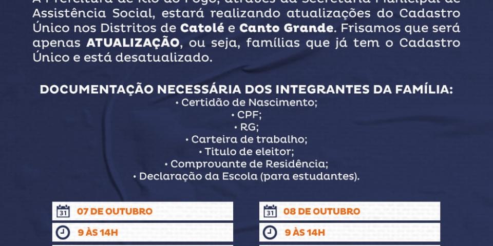 ATENÇÃO CATOLÉ E CANTO GRANDE